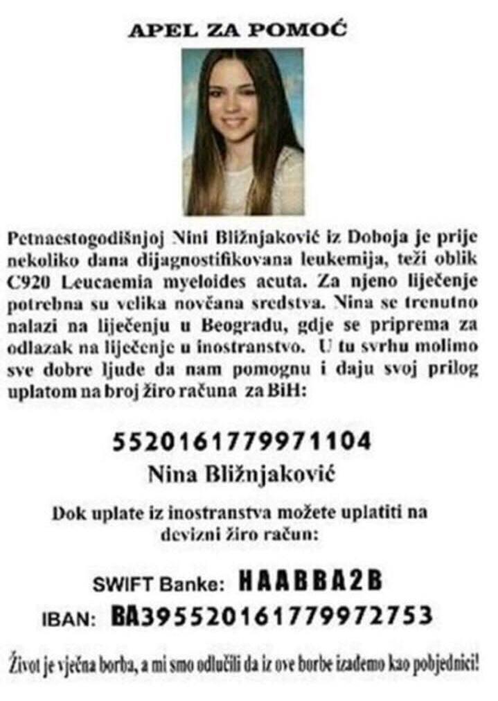APEL ZA POMOĆ: Nina Bližnjaković iz Doboja boluje od leukemije, Gradski Magazin