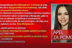 APEL ZA POMOĆ: Nini Bližnjaković iz Doboja koja boluje od leukemije